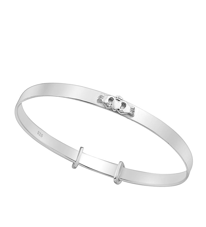 Children's Bangles:  Sterling Silver Premium Claddagh Expanding Bangle