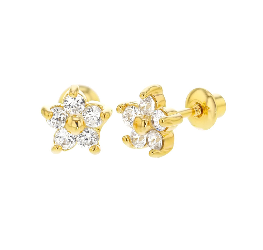 Baby and Children's Earrings:  18k Gold Filled White CZ Flowers with Screw Backs