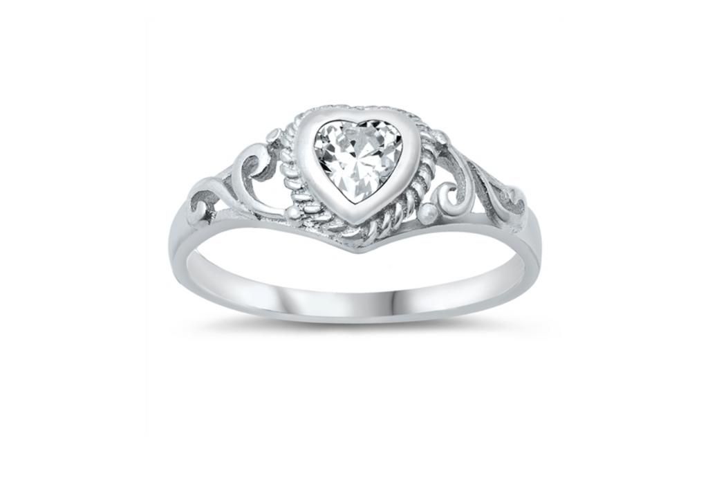 Children's Rings:  Sterling Silver Clear CZ Heart Ring Size 4