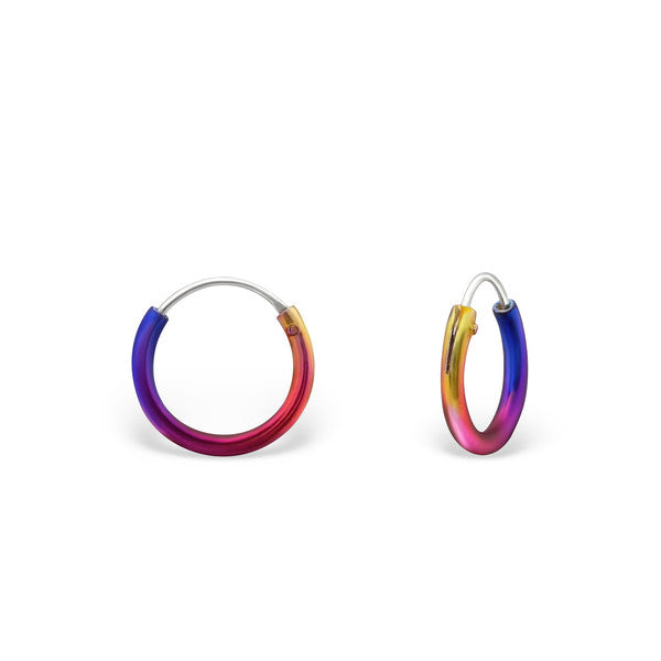 Baby and Children's Earrings:  Sterling Silver Rainbow Sleepers 10mm