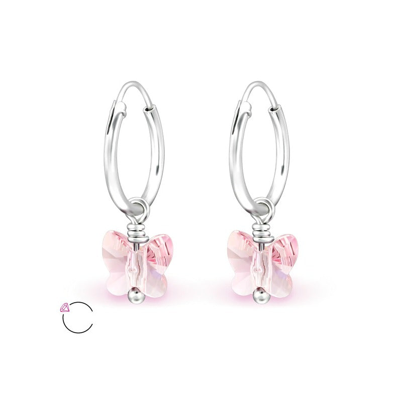 Children's Earrings:  Sterling Silver Sleepers with Swarovski Crystal Butterflies - Light Pink