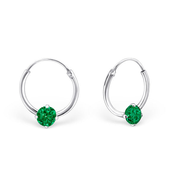 Children's Earrings:  Sterling Silver Sleepers with Emerald CZ May Birthstone