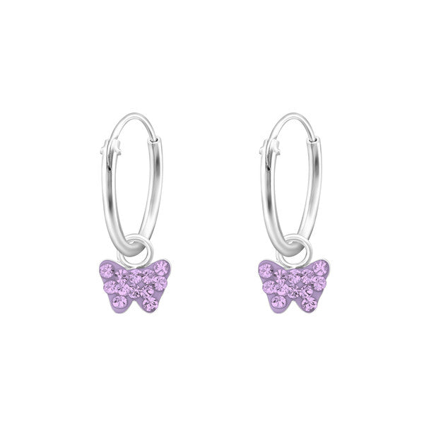 Baby and Children's Earrings:  Sterling Silver Sleepers/Hoops with Tiny Lavender Butterflies
