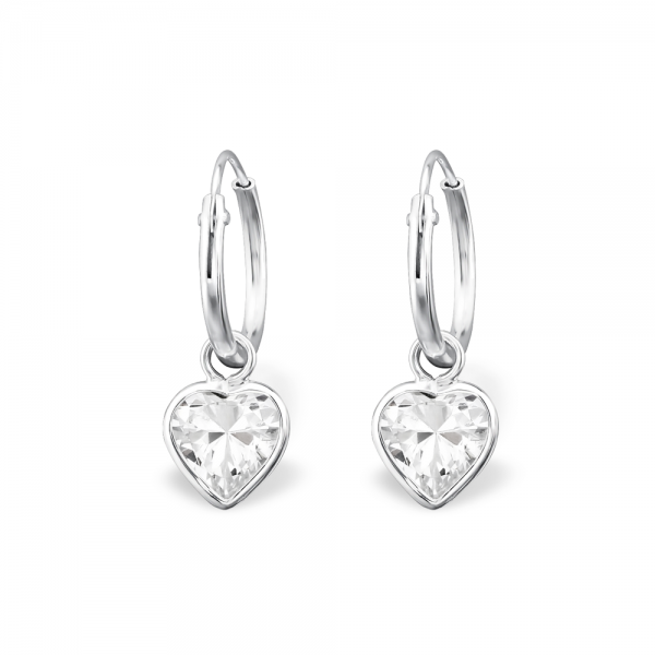 Children's Earrings:  Sterling Silver Sleeper Earrings with Crystal Hearts
