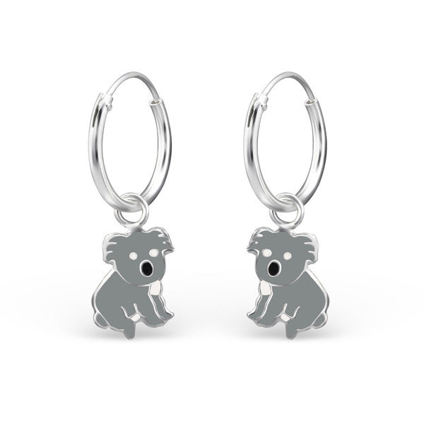 Children's Earrings:  Sterling Silver Sleepers with Koalas