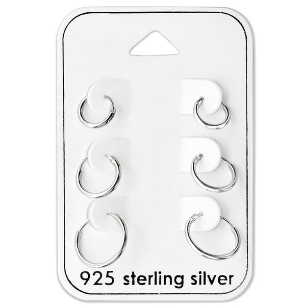 Baby and Children's Earrings:  Sterling Silver Sleeper x 3 Pair Gift Pack