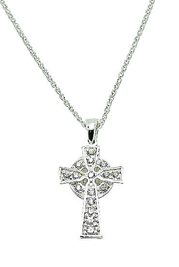 Children's Necklaces:  Sterling Silver, CZ Cross Necklace