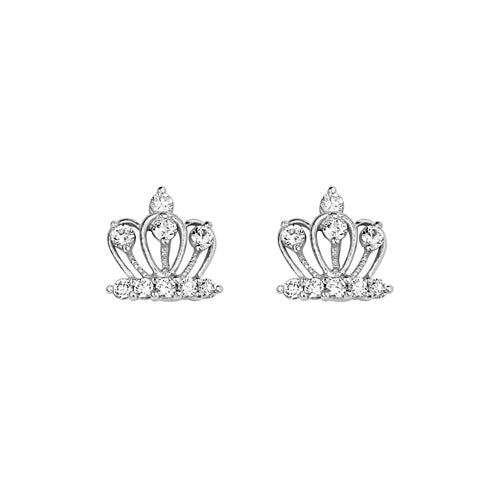 Baby and Children's Earrings:  Sterling Silver CZ Crown Earrings wtih Safety Screw Backs