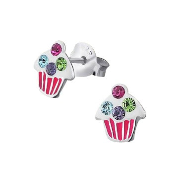 Baby and Children's Earrings:  Sterling Silver, Pink, Blue, Mauve and Green CZ Cupcakes