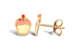 Children's Earrings:  9k Gold Cupcakes with Push Backs with Gift Box