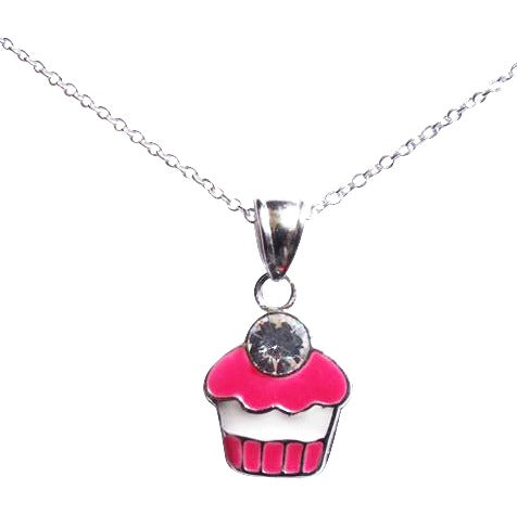 Baby and Children's Necklaces:  Sterling Silver Pink Cupcake Necklaces with Choice of Chain Length
