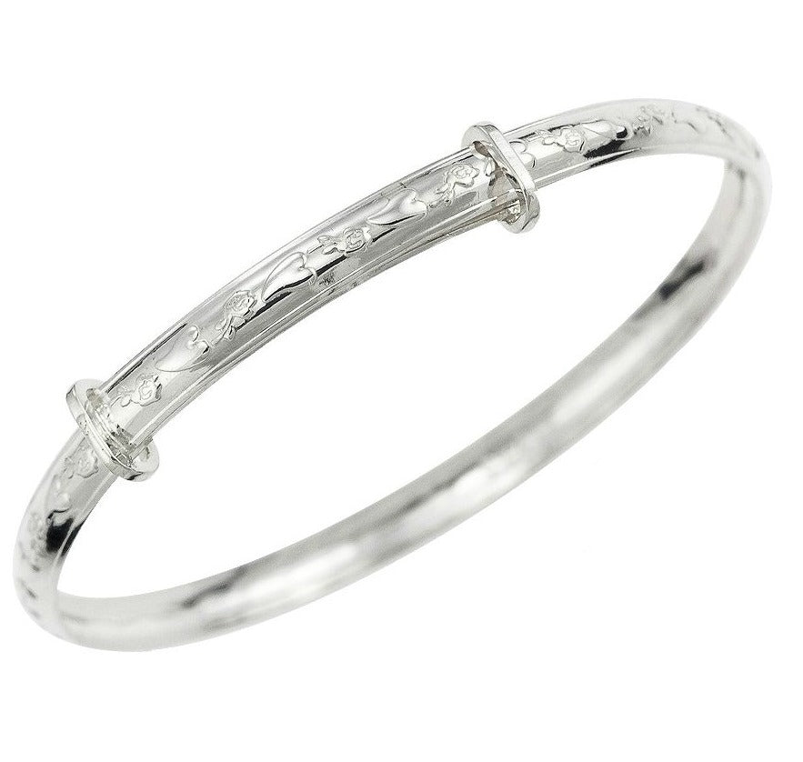 Baby Bangles:  Sterling Silver Embossed, Expanding Bangles with Complimentary Gift Box