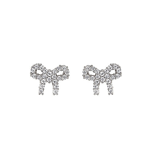 Children's Earrings:  Sterling Silver CZ Bows with Safety Screw Backs