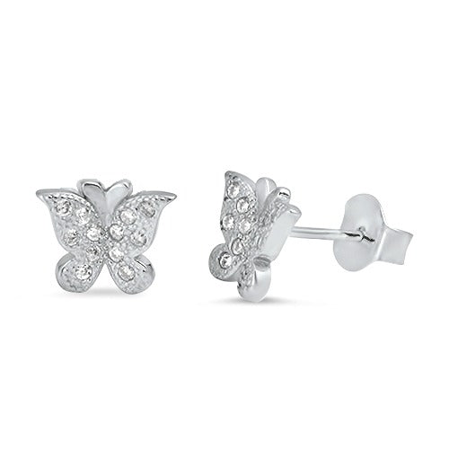 Children's Earrings:  Sterling Silver Micropaved CZ Butterfly Earrings
