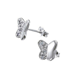 Baby and Children's Earrings:  Sterling Silver CZ Butterflies