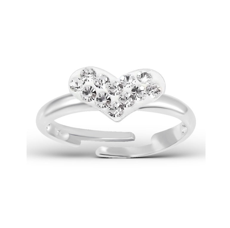Children's Rings:  Sterling Silver CZ Encrusted Heart Rings