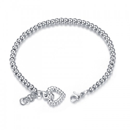 Children's, Teens' and Mothers' Bracelets:  Titanium Ball Bracelets with Heart with Gift Box