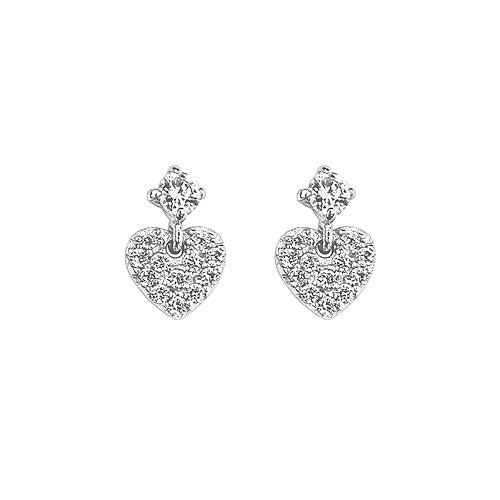 Children's and Teens' Earrings:  Sterling Silver CZ Drop Hearts with Safety Screw Backs