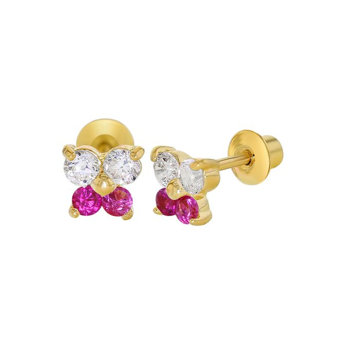 Baby and Children's Earrings:  18k Gold Filled Fuchsia and White CZ Butterflies with Screw Backs