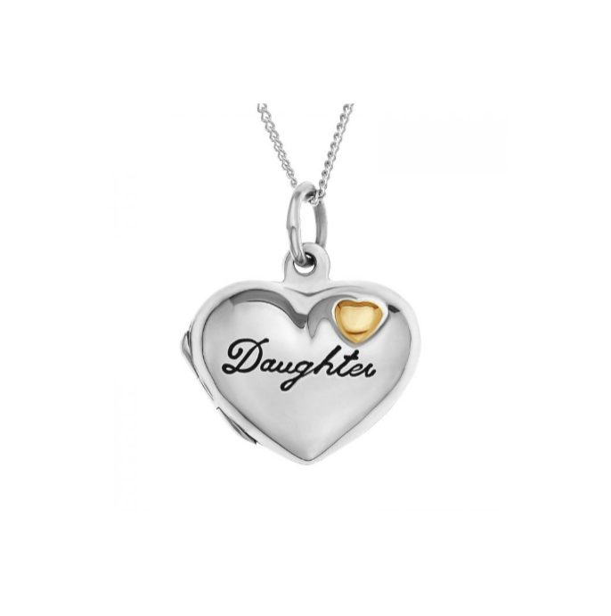 "Children's Necklaces: Sterling Silver ""Daughter"" Locket with 9k Gold Heart"