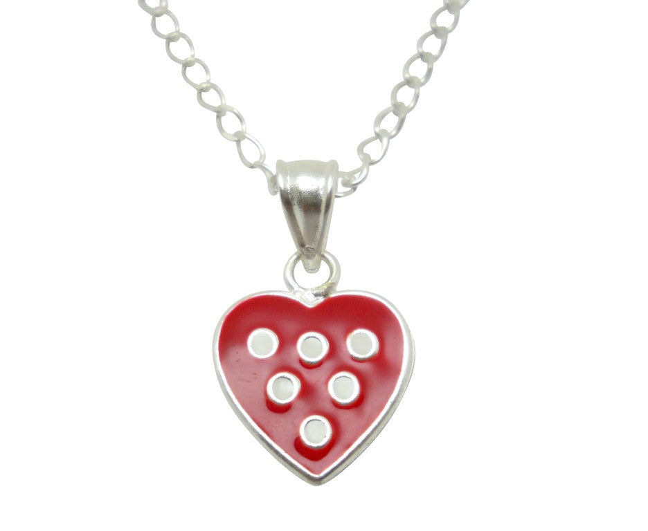 Baby and Children's Necklaces:  Sterling Silver Red with White Dots and Choice of Chain Length