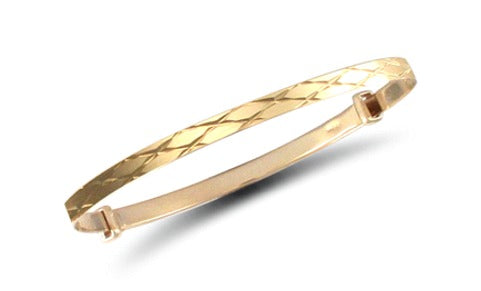 Baby and Children's Bangles:  9k Gold Flat Diamond Cut Expanding Bangles with Gift Box