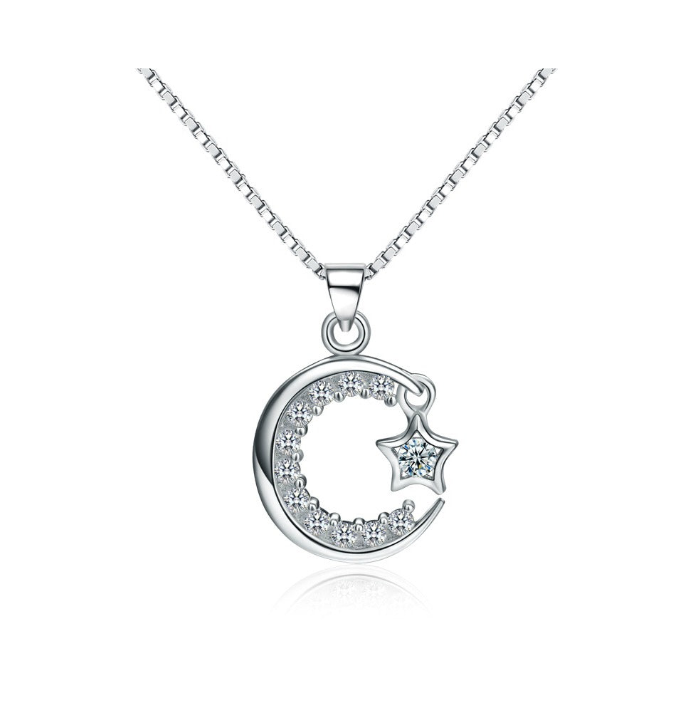 Mothers', Teens' and Children's Necklaces:  Sterling Silver, CZ Moon and Dangling Star