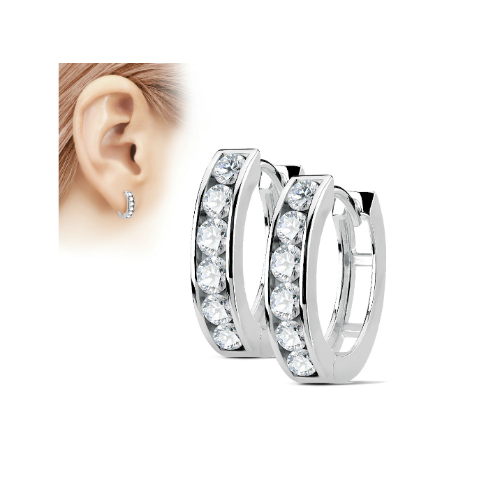 Teens' and Mothers' Earrings:  Surgical Steel, White CZ Huggies