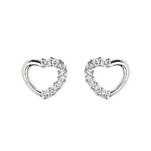 Children's Earrings:  Sterling Silver Open Heart Earrings with Clear CZ