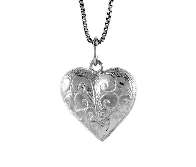 Children's Necklaces:  Sterling Silver Beautifully Embossed Heart Necklaces