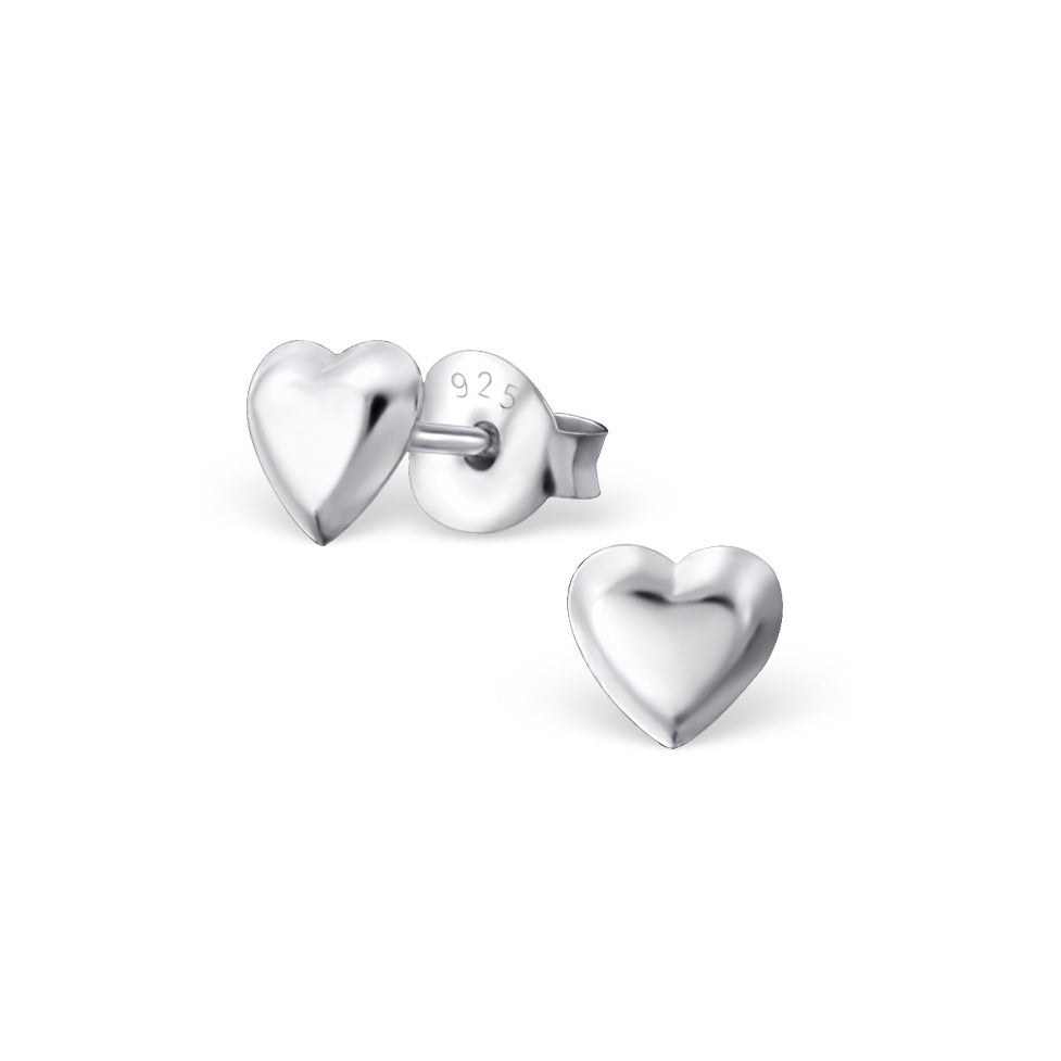 Baby and Toddler Earrings:  Sterling Silver Polished, Puffed Hearts