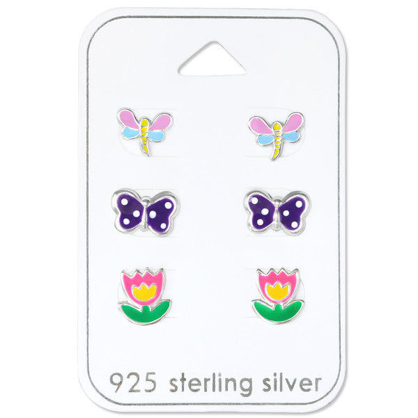 Children's Earrings Sets:  Sterling Silver Gift Pack - Spring Theme