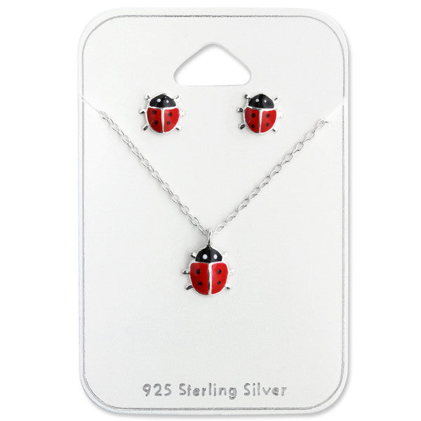 Children's Necklace and Earrings Gift Packs:  Sterling Silver Ladybug Necklace and Earrings Gift Packs