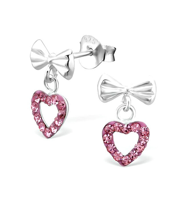Children's Earrings:  Sterling Silver Bow with Pink Crystal Open Hearts