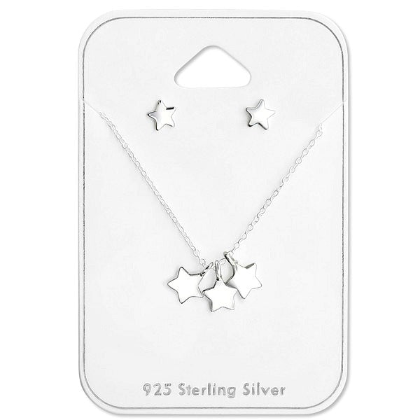 REDUCED:  Baby and Children's Necklace and Earrings Set:  Sterling Silver, Triple Star Necklace and Star Earrings Gift Set