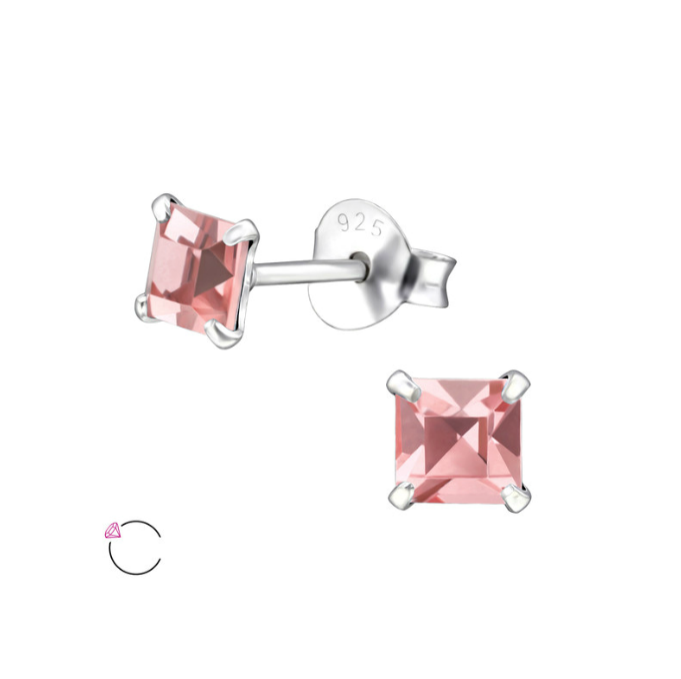 Children's Earrings:  Sterling Silver Four Prong, 4mm Princess Cut, pink CZ Studs