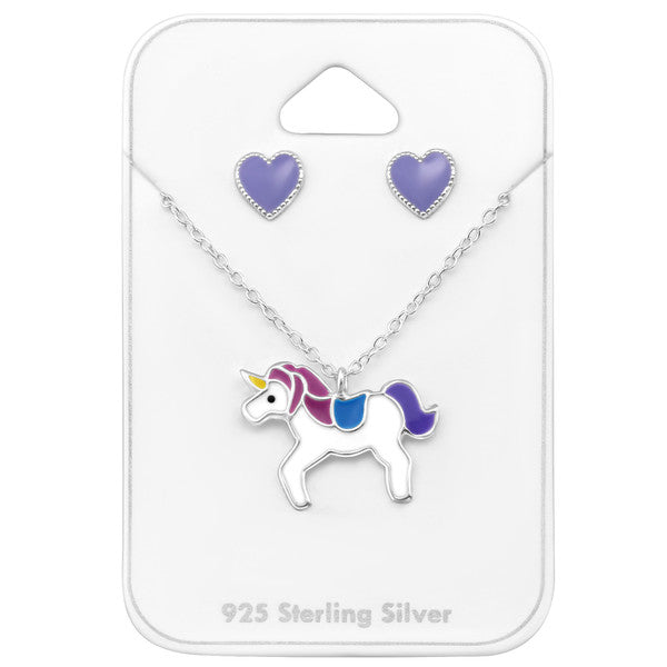 Children's Earrings and Necklace Set:  Sterling Silver Unicorns Necklace and Heart Earrings Gift Pack