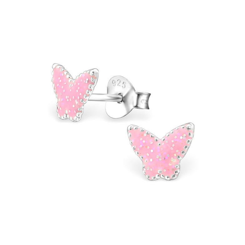Baby and Children's Earrings:  Sterling Silver Pink Glitter Butterflies