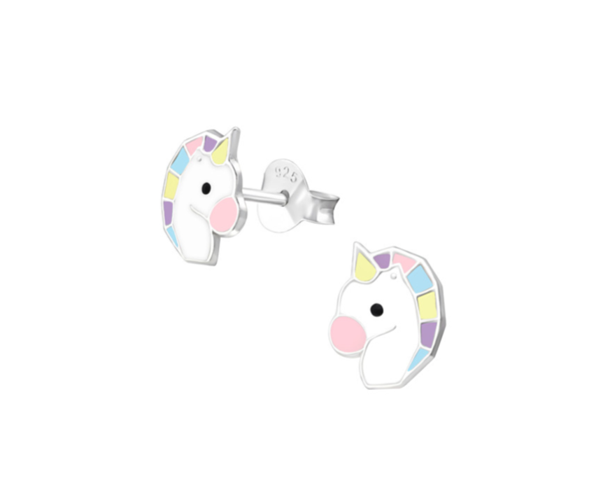 Children's Earrings:  Sterling Silver Unicorns Heads - Pastels