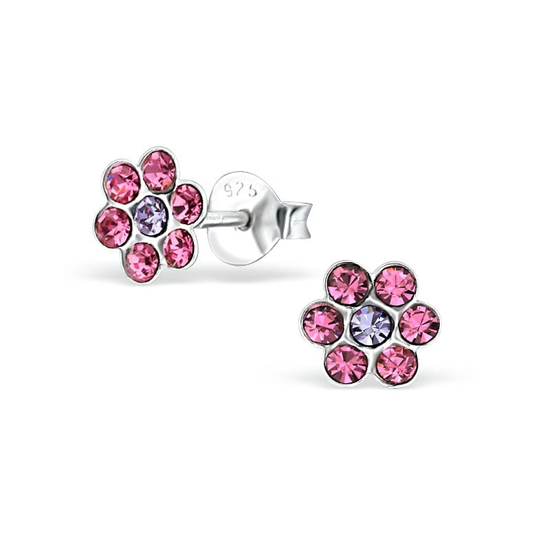 Baby and Children's Earrings:  Sterling Silver Pink/Mauve CZ Flower Earrings