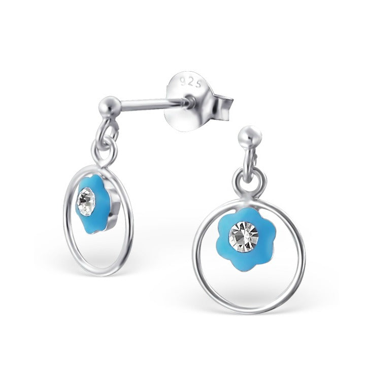 Children's Earrings:  Sterling Silver Drop Blue Flowers