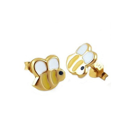 Children's Earrings:  14k Gold over Sterling Silver Enameled Honey Bee Earrings