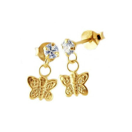 Children's Earrings: 14K Gold over Sterling  Butterfly Drop Stud Earrings