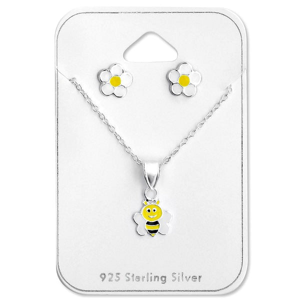 REDUCED:  Children's Necklace and Earrings Sets: Sterling Silver Flower Earrings and Buzzy Bee Necklace Gift Set