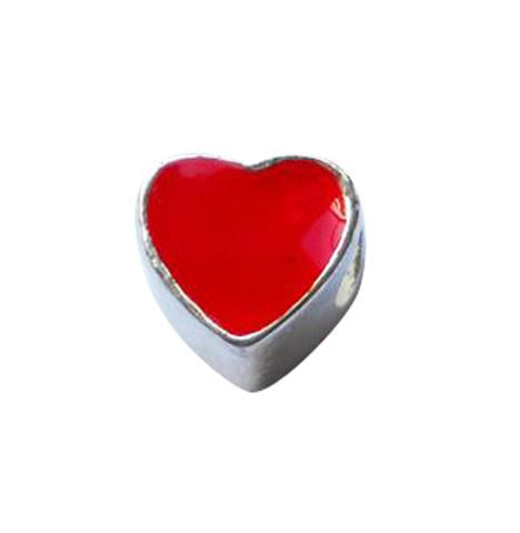 Children's Beads:  Silver Plated European Style Red Heart Beads