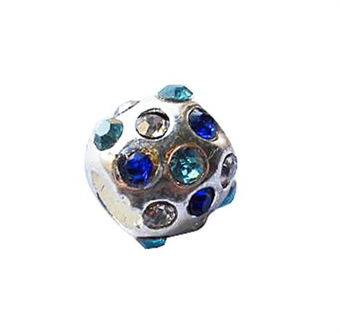 Children's Beads:  Blue Crystal Encrusted European Style Beads