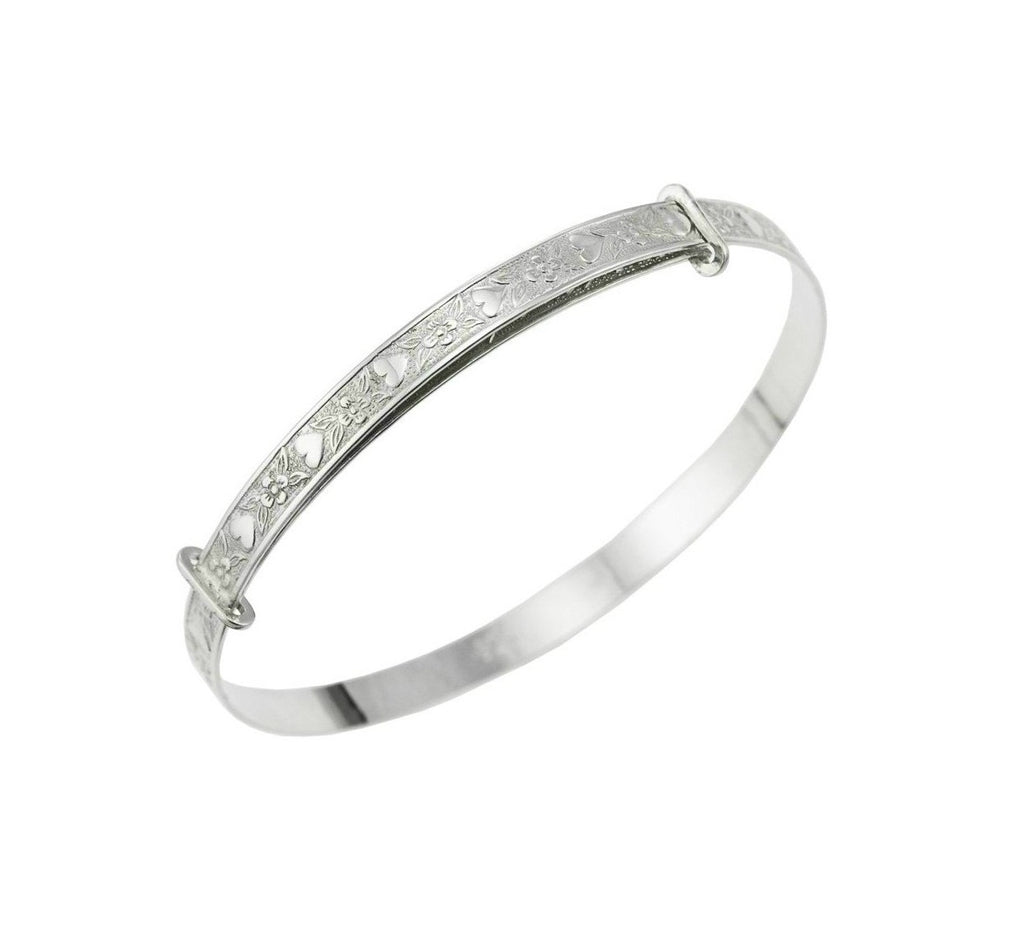 Baby Bangles:  Sterling Silver Exquisitely Embossed, Expanding Newborn Bangles with Gift Box