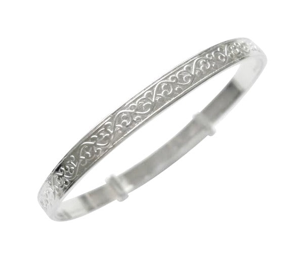 Children's Bracelets:  Sterling Silver Exquisitely Embossed Bangles Age 18 months to 4