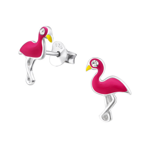 Baby and Children's Earrings:  Sterling Silver Pink Flamingo Earrings