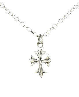 "Children's Necklaces:  Sterling Silver, 16"" Fleur de Lis Necklaces"
